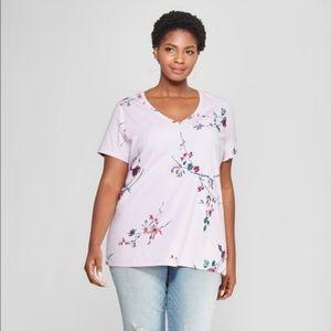 PLUS Light Purple Floral V-Neck T-shirt